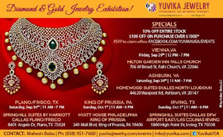 Yuvika Jewelry Shows in Virginia, Dallas & King of Prussia