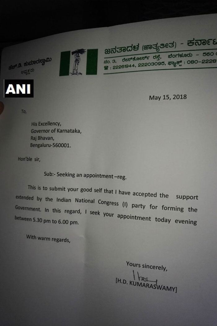Kumaraswamy writes to Gov, we have accepted Congress's support to form the Government.