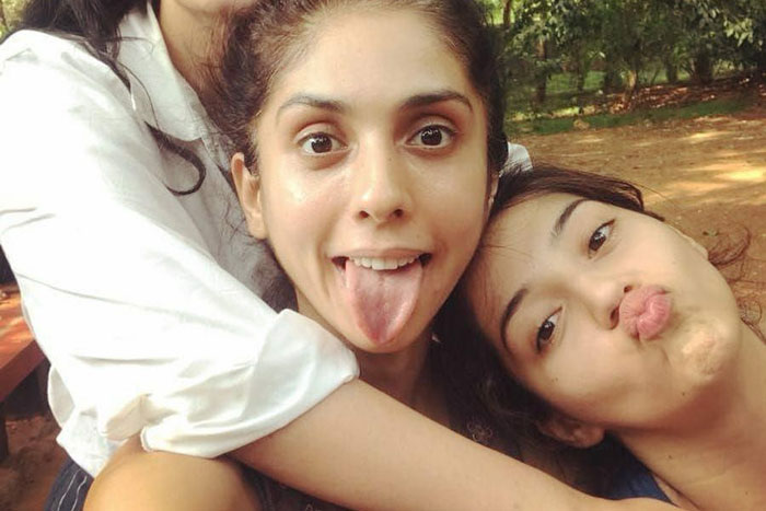 Crazy pose: Mehreen with her Musketeers