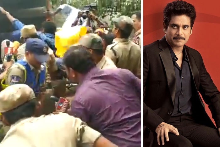 OU Students Protest at Nagarjuna's House