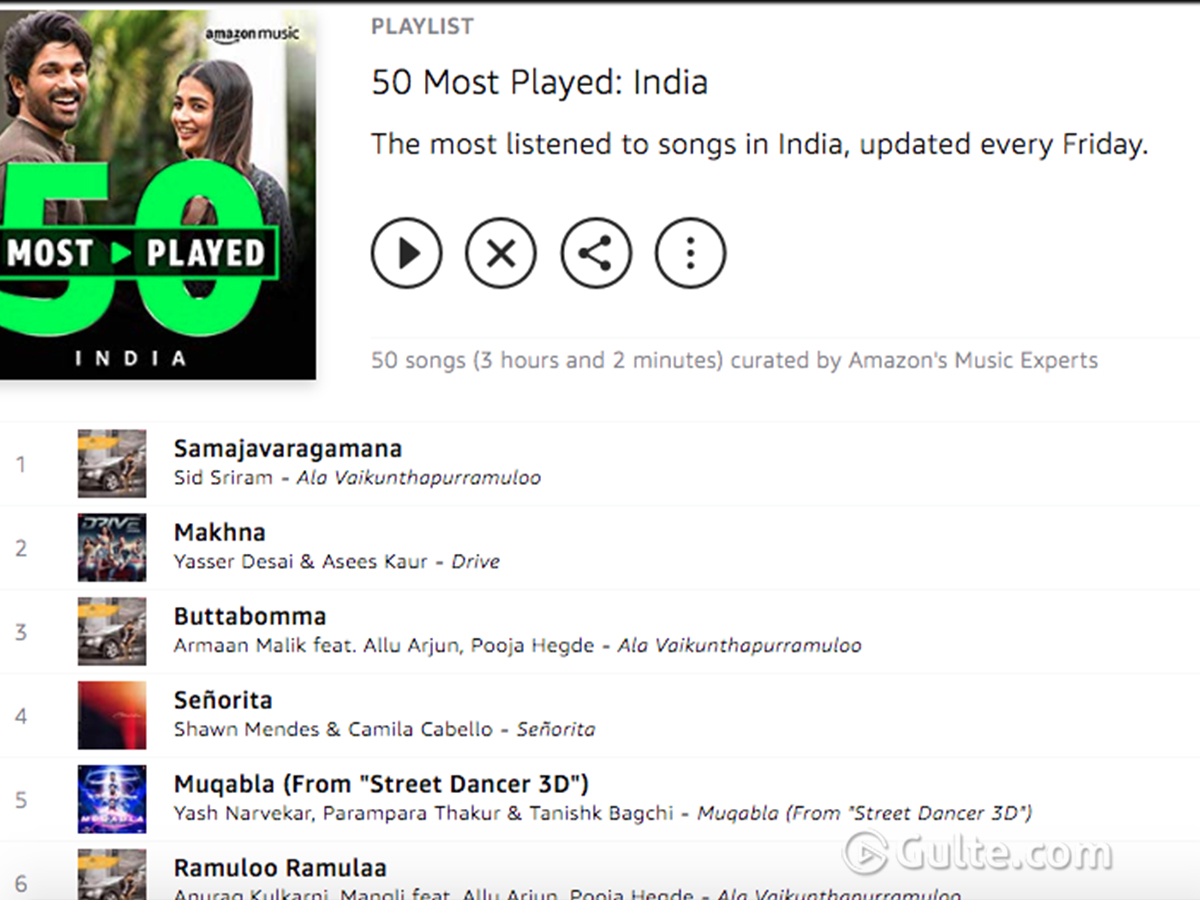 Ala.. All Songs On 'India's Most Played 50' List