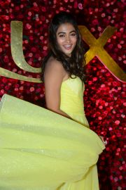 Pooja Hegde in a yellow thigh slit dress at Zee Cine Awards