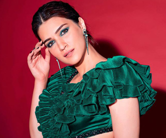 Kriti Sanon killing photoshoot in green velvet dress