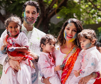 Sunny Leone holi celebration with Husband and Kids