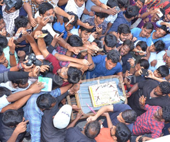 Pawan Fans Hungama At Dil Raju Office