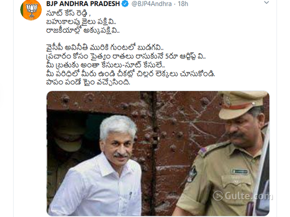 AP BJP ripped off Vijay Sai Reddy
